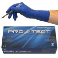 Unigloves ProTect Long Cuff Blue Latex Gloves